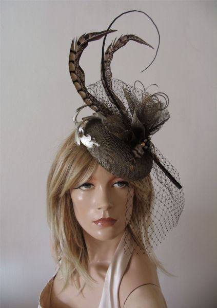 Gold, Brown, Feathered Button Fascinator Veiled Headpiece Hat of Pheasant Woodland Tones